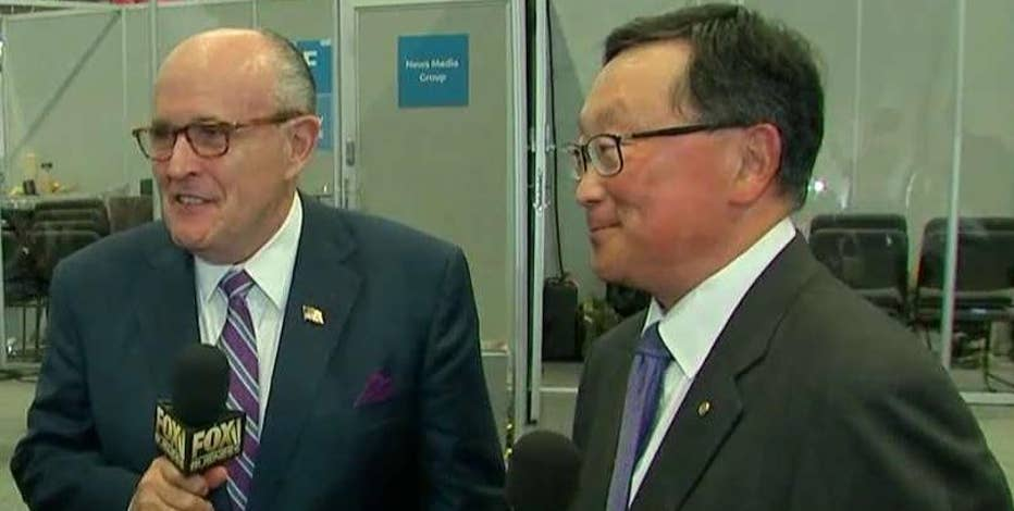 Fmr. NYC Mayor Rudy Giuliani and Blackberry CEO John Chen talk about their partnership to combat cyber threats during the Consumer Electronics Show in Las Vegas.