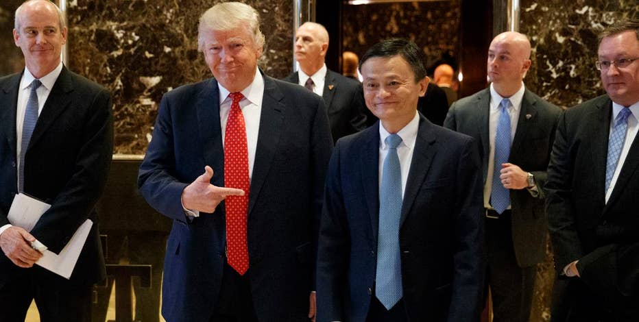 Alibaba founder Jack Ma addresses reporters following his meeting with U.S. President-elect Trump.