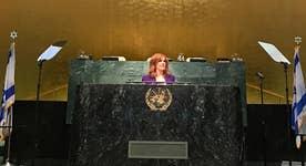 Liz Claman emcees UN summit on combating anti-Israel boycott movement