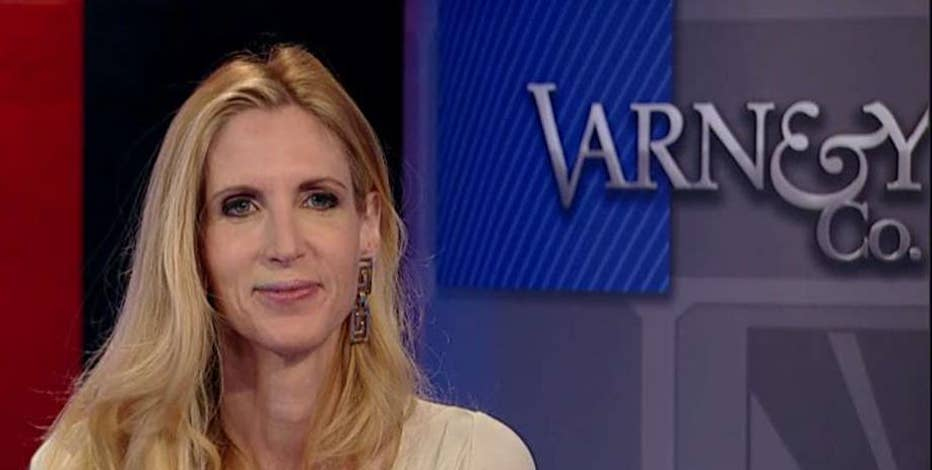 'In Trump We Trust' author Ann Coulter reacts to 'The Late Show' host Stephen Colbert's comments towards President Trump and the UC Berkley speaking engagement.