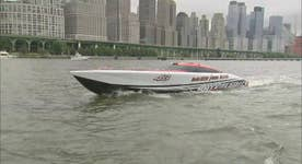 Power boat that can reach 180 mph tours the Hudson River
