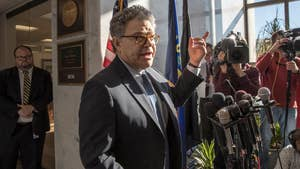 Sen. Al Franken (D-Minn.) addresses the media amid allegations of sexual misconduct.