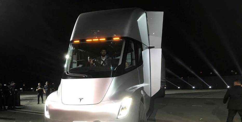 Tesla CEO Elon Musk hopped out of the first fully electric semi truck at SpaceX headquarters, unveiling the Tesla Semi. Musk promised that the truck will help transform the trucking industry and improve safety. Here's what it's all about.