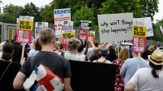Protests erupt in London during Trump's meeting with May