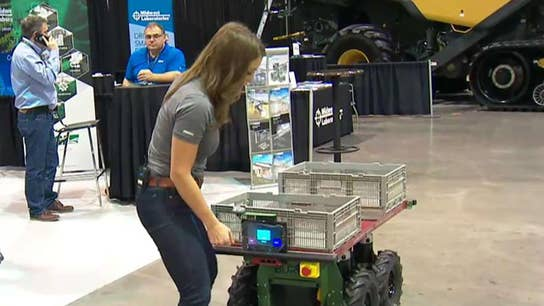 FBN's Kristina Partsinevelos tries out some high-tech farming equipment