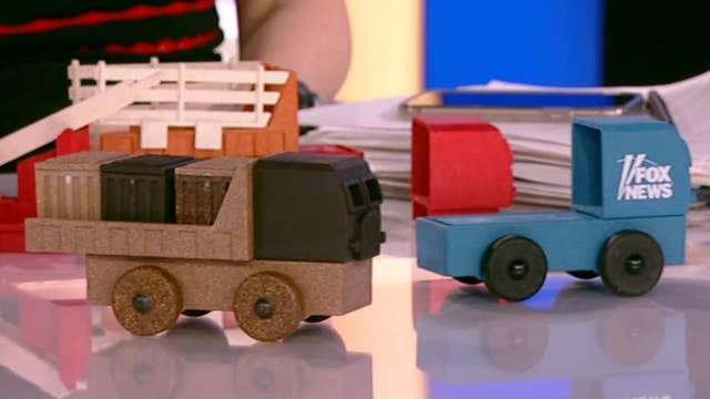 This toy factory produces American-made, educational toy trucks