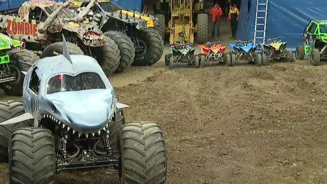 How do monster truck drivers prepare for an event?