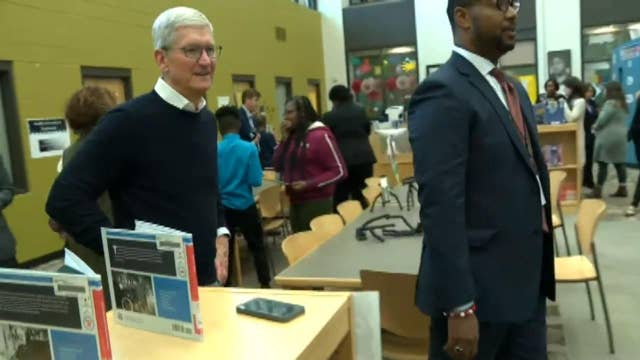 Apple CEO Tim Cook meets the young students of Ed Farm