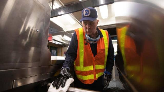 MTA workers disinfect subway for coronavirus