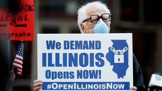 Coronavirus lockdown protests underway in Illinois