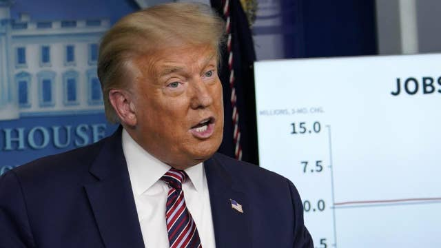 President Trump touts 'strong V' recovery of sectors of the US economy amid coronavirus pandemic