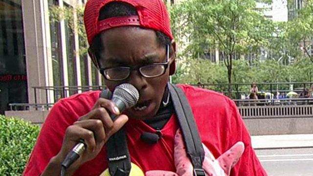 Street performer 'Verbal Ase' tells Stuart Varney he often makes more than $60 per hour.