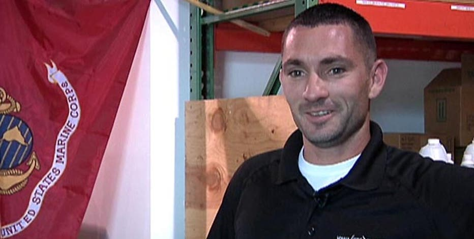 Lauren Blanchard talks to a hazmat Marine veteran who uses his military training to open up his own business