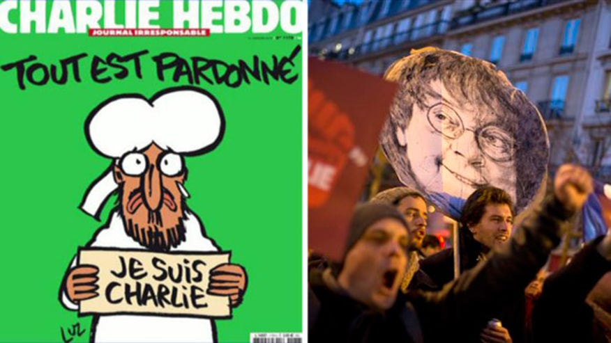 French satirical magazine's first issue since terror attack depicts Muslim prophet Muhammad