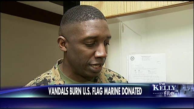 Marine Responds After Vandals Burn Flag He Donated