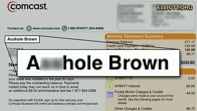 Grapevine: Comcast calls customer 'A-hole' on bill