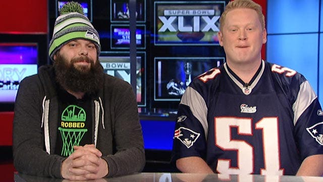 Rival fans sit side by side to talk Super Bowl matchup