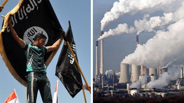 Debate over danger of climate change vs. terrorism