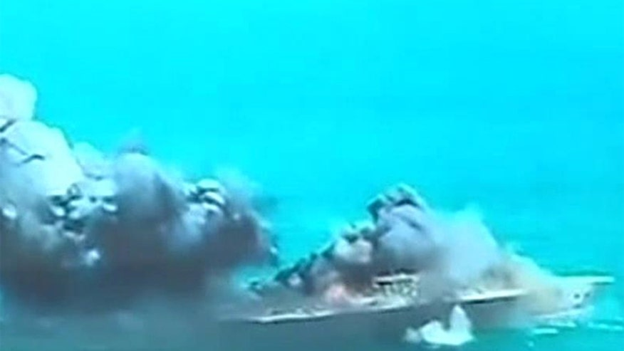 New video shows Iran's military conducting drills against a replica US aircraft carrier