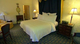 Matt Zolbe gives Jenna Lee a tour of the famed hotel accomodations