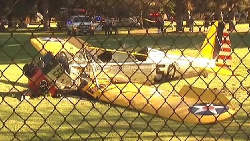 Raw video: Aircraft puts down on golf course in Venice, California