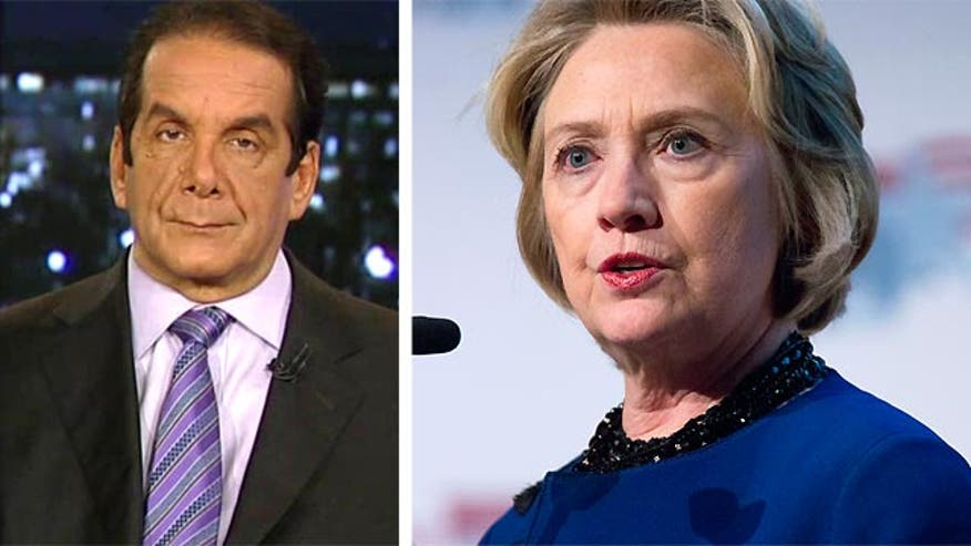 "Charles Krauthammer told viewers Thursday that former Secretary of State Hillary Clinton will never ""clear the air"" on a scandal involving her emails - without incriminating herself."