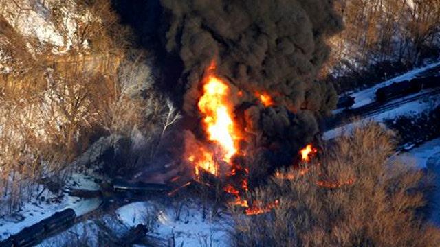 Train carrying crude oil derails in Illinois
