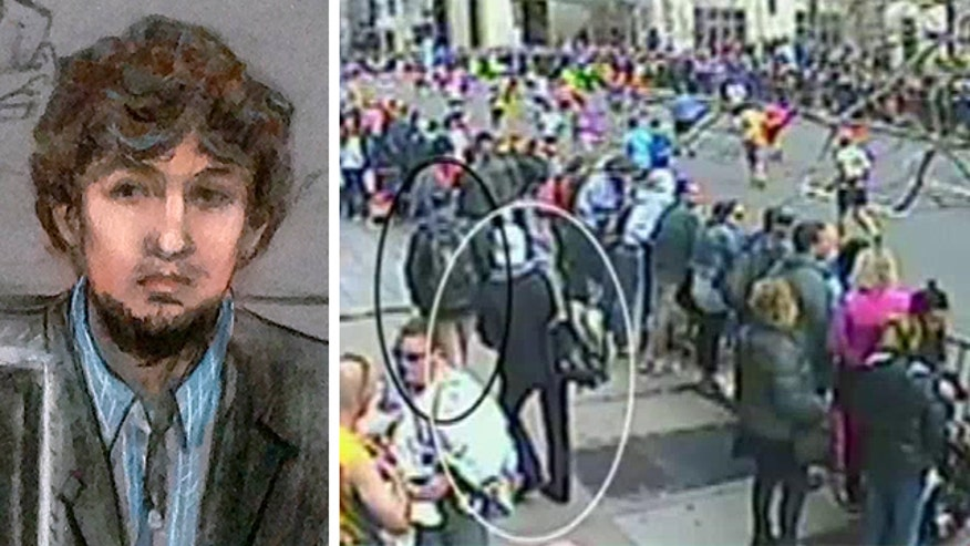 Surveillance camera footage shows the moment the backpack containing the bomb was dropped-off