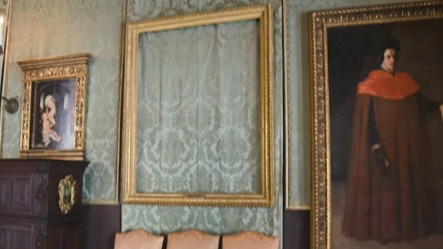 25 years later, empty frames are on the walls of the Isabella Stewart Gardner Museum in Boston where paintings by Rembrandt and Vermeer once hung