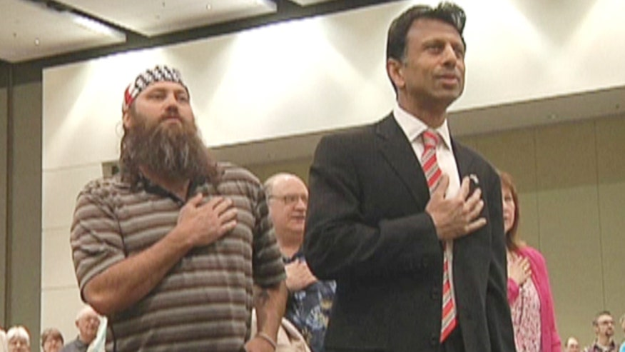 "Louisiana Governor Bobby Jindal jokes ""Duck Dynasty's"" Willie Robertson would make a great 2016 running mate after sharing Easter message in Iowa"