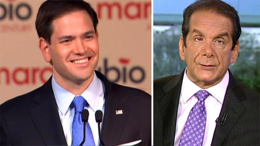"Charles Krauthammer told viewers on ""Special Report with Bret Baier"" that Florida Republican Senator Marco Rubio's presidential kick-off was ""clearly a speech about old and new."""
