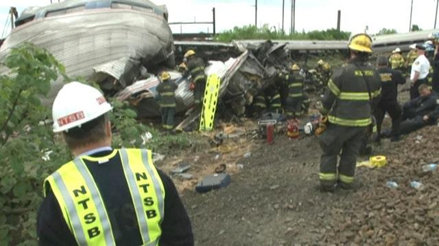 NTSB footage from scene of Philadelphia Amtrak derailment