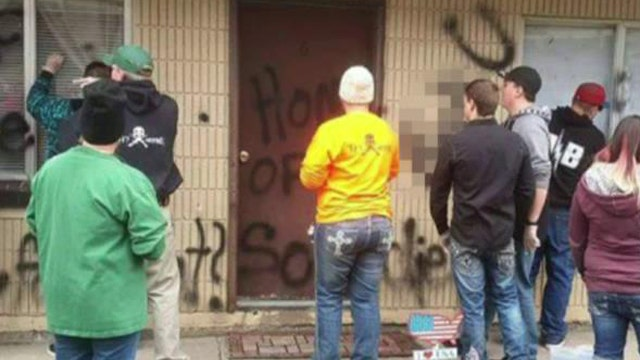 Proud American: Community cleans up anti-soldier graffiti