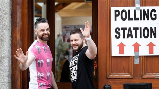 Voters in Ireland taking part in gay marriage referendum