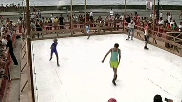 Artist brings 'ice' rink to Havana