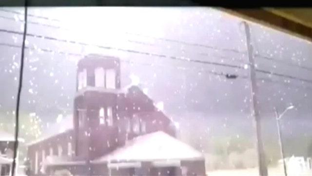 Bolt of lightning strikes church