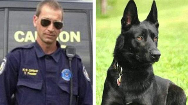Brave police dog saves sheriff's deputy