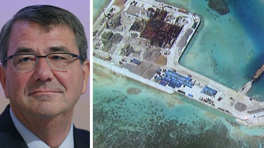 Defense Secretary Ash Carter urges China to stop trying to convert artificial reefs into a military airfield