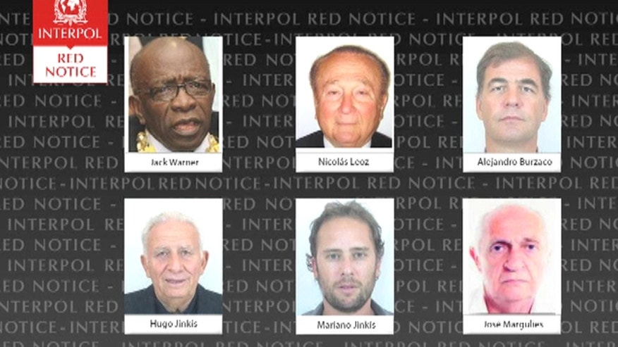 Interpol added six men with ties to FIFA to its most wanted list, issuing an international alert for two former FIFA officials and four executives on charges including racketeering and corruption.