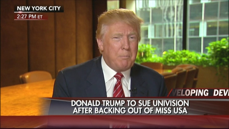 Businessman Donald Trump says he will sue Univision for backing out of their contract with the Miss Universe Organization.