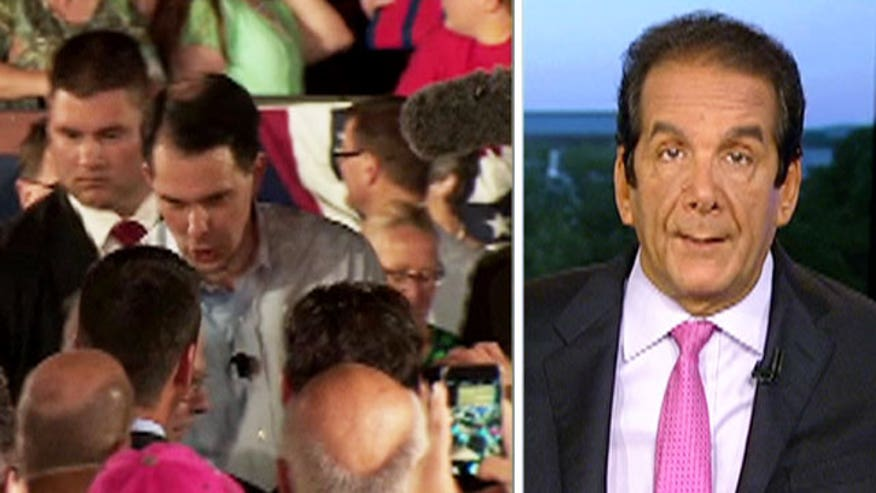 Krauthammer said that Wisconsin Governor Scott Walker (R), who officially threw his hat in the ring for president today, made a stump speech rather than a soaring announcement... and it worked for him.