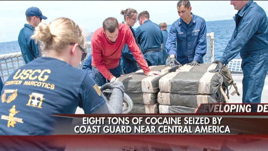 The U.S. Coast Guard seized 12,000 pounds of cocaine from a vessel in the Eastern Pacific in one of the largest busts of its kind.