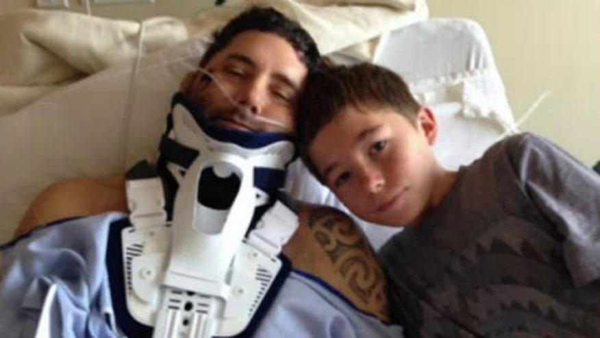 Teen helped keep his father hydrated and calm