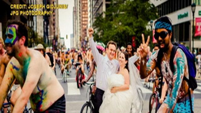 Wedding photos with nude cyclists