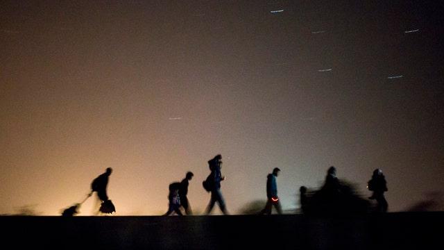 Asylum-seeking refugees cross border from Serbia to Hungary