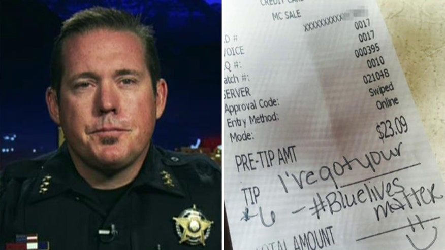 Message on receipt shows support for police force