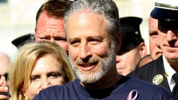 New York City police and firefighters, joined by comedian Jon Stewart, rallied on Capitol Hill Wednesday as part of a bipartisan plea for Congress to renew funding for / first responders' health care.