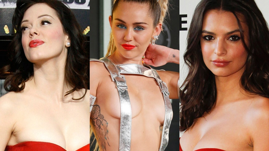 Four4Four: Rose McGowan joins Miley Cyrus and Emily Ratajkowski in the topless video revue