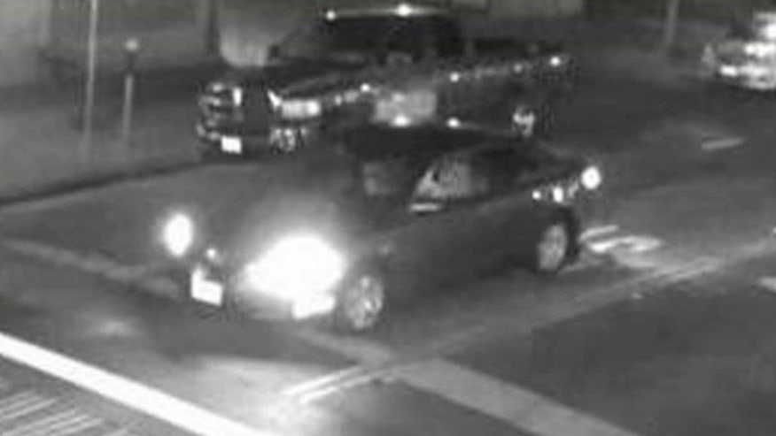 Surveillance video shows suspects' getaway car