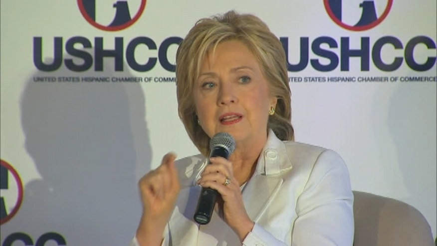 Hillary Clinton attends a Q&A with the U.S. Hispanic Chamber of Commerce in San Antonio, Texas.
